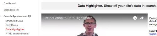 data data highlighter webmaster tools